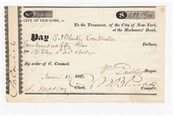 City of New York Draft signed by G. N. Bleecker, Co founder of New York Stock Exchange - 1827
