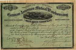 German American Mutual Warehousing and Security Company - New York 1875