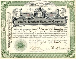 General American Reduction Company signed by Samuel Montgomery Roosevelt- New Jersey 1897