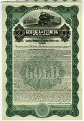 Georgia and Florida Railway $1000 uncancelled Gold Bond signed by John Skelton Williams (Comptroller of the Currency) - 1912