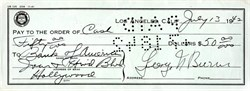 George Burns signed Check 1942