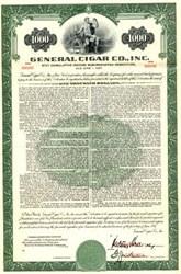 General Cigar Company $1000 Bond - New York 1957