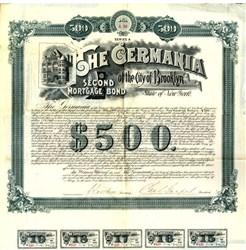 Germania Club Mortgage Bond (RARE) - Brooklyn, New York 1890