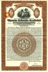 General Electric Company (Allgemeine Elektricitäts-Gesellschaft (AEG) $1000 Gold Bond, Germany 1925