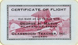George H. Mason Certificate of Flight Card - Chicago, Illinois