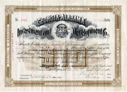 Georgia-Alabama Investment and Development Company signed by Civil War General, Benjamin F. Butler. - Alabama 1891