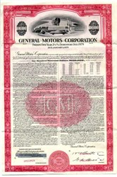 General Motors Corporation $100,000 Bond (Pre Bankruptcy)  - 1954
