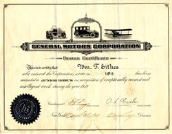 General Motors Corporation Bonus Certificate - New York 1919