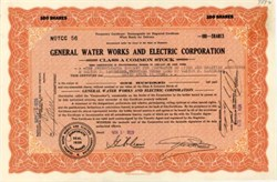 General Water Works and Electric Corporation 1929