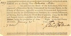 German Patent for County of Herkemer  (Land Patent) - Newburgh, New York 1795