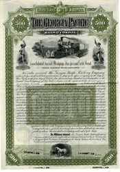 Georgia Pacific Railway Company Gold Bond - Birminham, Alabama 1888