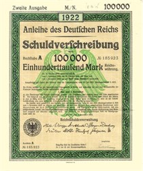 German 100,000 Mark Bond - 1922