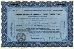 General Television Manufacturing Corporation - 1932