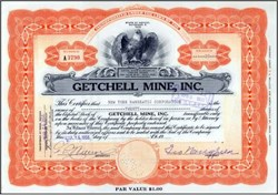 Getchell Mine ( Famous Nevada Mine ). signed by George Wingfield - Humboldt County, Nevada