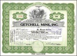 Getchell Mine, Inc. 1949 - Humboldt. Potosi signed by Noble Getchell