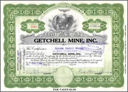 Getchell Mine, Inc. issued to and signed by George Wingfield and George Hewitt Myers 1946