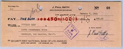 J. Paul Getty Handsigned Check - 1945