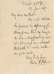 General John Dix handwritten letter  regarding the new birth a grandson  - 1870