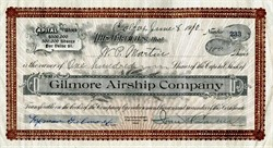 Gilmore Airship Company signed by aviation pioneer, Lyman Gilmore Jr. - California 1910