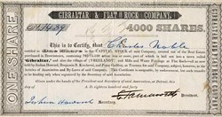 Gibraltar & Flat Rock Company - RARE - Detroit, Michigan 1840