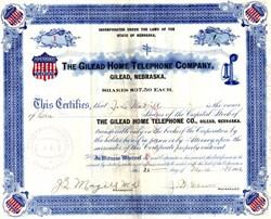 Gilead Home Telephone Company (Certificate #1)  - Gilead, Nebraska 1906
