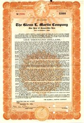 Glenn L. Martin Company $1000 convertible bond certificate (Became Lockheed Martin Corporation)  - Maryland 1936
