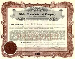 Globe Manufacturing Company 1920's