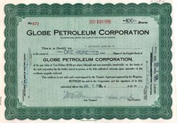 Globe Petroleum Corporation 1926
