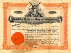 Goldfield Big Bonanza Mining and Milling Company - Arizona 1905