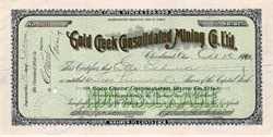 Gold Creek Consolidated Mining Company Limited - Cleveland, Ohio - 1900