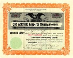 Goldfield Emperor Mining Company - Nevada. Esmeralda. Goldfield.  -  Wyoming 1905