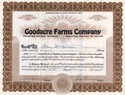 Goodacre Farms Company - Florida 1928