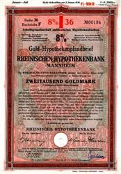 Rheinische Hypothekenbank Gold Bond (Now Eurohypo AG)-  Mannheim, Germany 1929