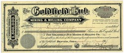 Goldfield Hub Mining and Milling Company - Goldfield District, Esmeralda County, Nevada - Organized in Territory of Arizona 1905
