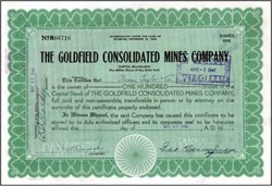 "Goldfield Consolidated Mines Company handsigned by Business Kingpin, George Wingfield (""Owner and Operator of Nevada."") - 1946"