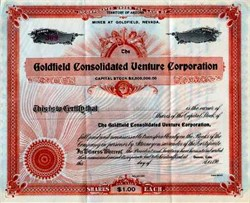 Goldfield Consolidated Venture Corporation 190X - Territory of Arizona