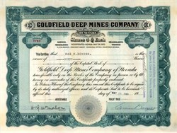 Goldfield Deep Mines Company 1920 - Esmeralda. Goldfield, Nevada