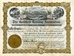 Goldfield Leasing Association - Nevada. Esmeralda. Goldfield. Incorporated in Territory of Arizona 1906