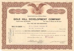 Gold Hill Development Company 1929-1932