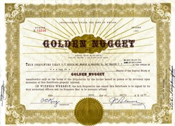 "Golden Nugget, Inc. - Las Vegas Casino ( Pre Steve Wynn ) handsigned by G.C. ""Buck"" Blaine as President - Las Vegas, Nevada 1965"