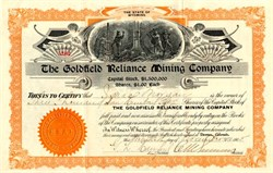 Goldfield Reliance Mining Company - Wyoming 1905