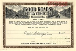 Good Roads Pay Check - Mooseheart, Illinois 1914