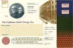 Goldman Sachs Group, Inc. IPO Stock Certificate  - 1999