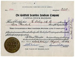 Goldfield Securities Syndicate Company - Arizona 1906