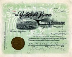 Goldfield Sierra Mining Company - Nevada. Esmeralda. Goldfield.  - Incorporated in Colorado 1906