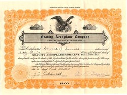 Gravity Aeroplane Company signed by Jonathan Edward Caldwell as President - Nevada 1928