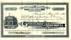 Granite Bank of Monrovia, California - 1894