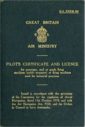 Great Britian Air Ministry Pilot's Certificate and License (Pilot was awarded Air Force Cross during WWII - Battle of Britain)  - England 1931