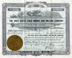 Gray Butte Gold Mining and Milling Company - Territory of Arizona 1912 - Located in Mono County, California