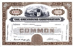 Greyhound Bus Corporation (Uncancelled Greyhound Certificate with Orville Caesar as President) - 1953